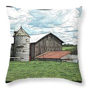 Barn Landscape Colored Pencil Chicken Scratch Effect Throw Pillow