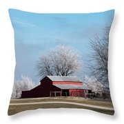 Barn On Frosty Morn Throw Pillow