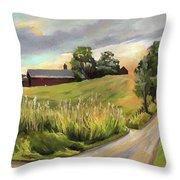 Barn On The Ridge In West Newbury Vermont Throw Pillow