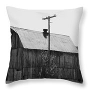 Barn On The Side Of The Road Throw Pillow