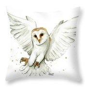 Barn Owl Flying Watercolor Throw Pillow
