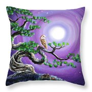 Barn Owl In Twisted Pine Tree Throw Pillow