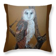 Barn Owl On Tree Throw Pillow