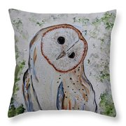 Barn Own Impressionistic Painting Throw Pillow