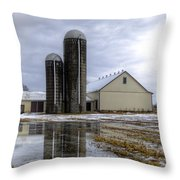 Barn Reflection After A Snowstorm Throw Pillow