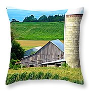 Barn Silo And Crops In Nys Expressionistic Effect Throw Pillow