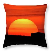 Barn Sunset Throw Pillow