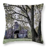Barn Underneath The Tree Throw Pillow