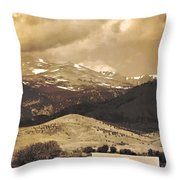 Barn With A Rocky Mountain View In Sepia Throw Pillow