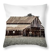 Barn With Outhouse Throw Pillow
