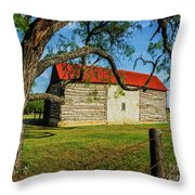 Barn With Red Metal Roof Throw Pillow