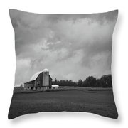 Barn With Storm Clouds Throw Pillow