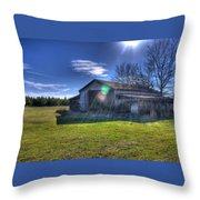 Barn With Sun Flare Throw Pillow