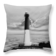 Barnegat Lighthouse In Black And White Throw Pillow