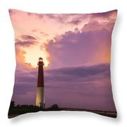 Barnegat Lighthouse Stormy Sunset Throw Pillow