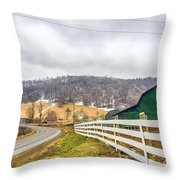 Barns And Mountains Throw Pillow