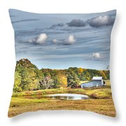 Barns And Pond On A Fall Day Throw Pillow