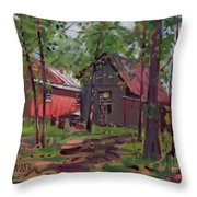 Barns In April Throw Pillow