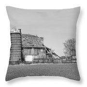 Barn's Last Season Bw  Throw Pillow