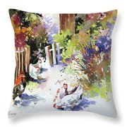 Barnyard Gathering Throw Pillow