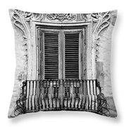 Baroque Balcony Window. Messina, Sicily.    Black And White Throw Pillow