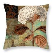 Baroque Hydrangea Patchwork Throw Pillow