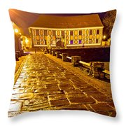 Baroque Town Of Varazdin Square At Evening Throw Pillow