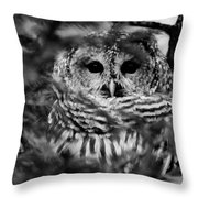 Barred Owl In Black And White Throw Pillow