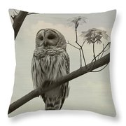 Barred Owl On A Tree Throw Pillow