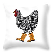Barred Rock With Boots Throw Pillow