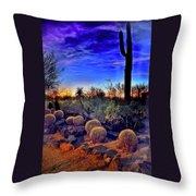 Barrel Cacti Ambling Along Throw Pillow