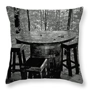 Barrel In The Woods Throw Pillow