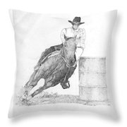 Barrel Racer Throw Pillow by Lucien Van Oosten