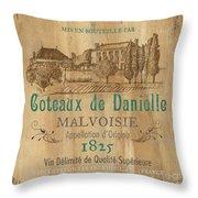 Barrel Wine Label 2 Throw Pillow