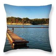 Barren River Lake Dock Throw Pillow
