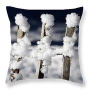 Barriere En Bois Recouverte De Neige Les Contamines Montjoie Haute Savoie Throw Pillow