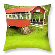 Barron's Covered Bridge Throw Pillow