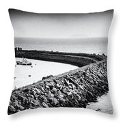 Barry Island Breakwater Film Noir Throw Pillow