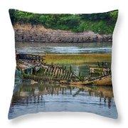 Barry Island Wrecks 2 Throw Pillow