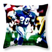 Barry Sanders On The Move Throw Pillow