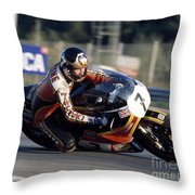 Barry Sheene. 1978 Nations Motorcycle Grand Prix Throw Pillow