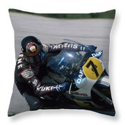 Barry Sheene. 1984 Nations Motorcycle Grand Prix Throw Pillow