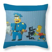 Bart Was Here Throw Pillow
