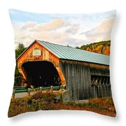 Bartonsville Covered Bridge Throw Pillow