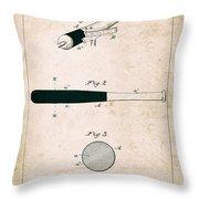 Baseball Bat - Patent Drawing For The 1902 John Hillerich Basebal Bat Throw Pillow