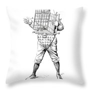 Baseball Catcher Cage - Restored Patent Drawing For The 1904 James Edward Bennett Catcher Cage Throw Pillow