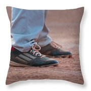 Baseball Cleats In The Dirt Throw Pillow by Kelly Hazel