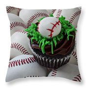 Baseball Cupcake Throw Pillow by Garry Gay