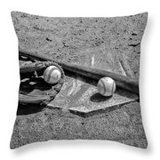 Baseball Game In Black And White Throw Pillow