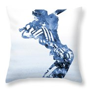 Baseball Girl-blue Throw Pillow